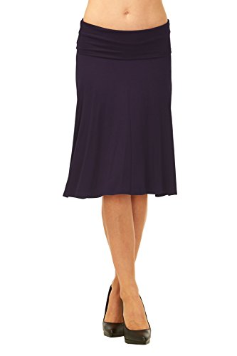 Womens Basic Solid Stretch Fold-Over Flare Midi Skirt - Size Junior Small