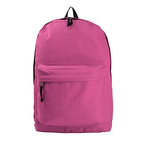 Basic Backpack Classic Simple School Book Bag Student Daily Daypack 18 Inch (Hot Pink)