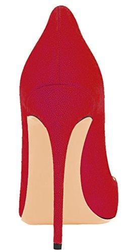 Zehen Übergröße MONICOCO Spitze Damenschuhe A Rot Hochzeit Pumps für Party Samt Stiletto qtrdrR