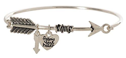 (Artisan Owl Follow Your Heart Charm Arrow Bangle Bracelet (Silver Tone))