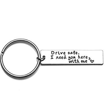 Row_120cc Safe Driving Keychain Llaveros para hombres Drive Safe I Need You Here With Me