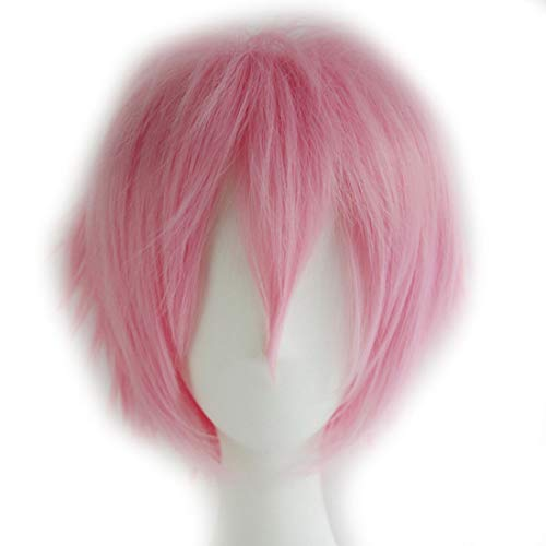 Alacos Women Men Short Fluffy Straight Hair Wigs Anime Cosplay Party Dress Costume Wig Baby Pink Wig+ Free Wig Cap ()