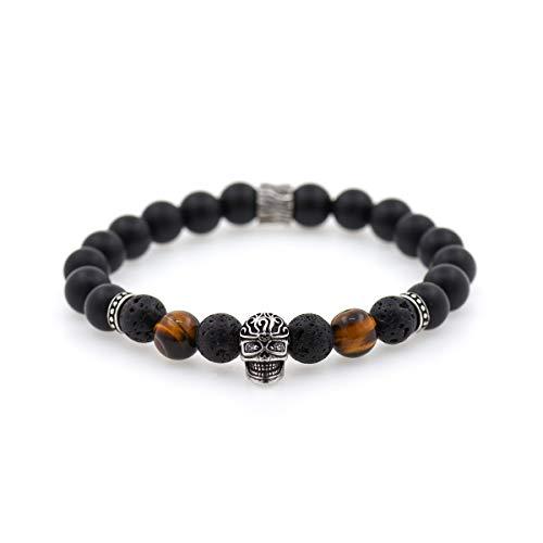 Bracelet Black Agate Carved (Carved Skull Bracelet Charms,8mm Natural Matte Black Onyx Beads,Healing Gemstone Bracelet Gift Men's)