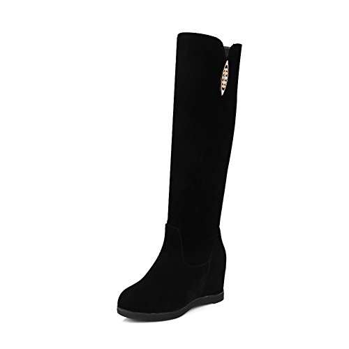 Solid Women's Round Black Toe Increased Internal Boots Charm Rhinestone DecoStain classics ZIp0wndTqT