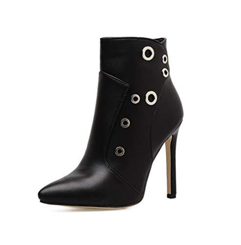 Shiney Mujeres Mesh Moda Stiletto Otoño Booties 2018 Invierno Tacones Altos Single Black New Rivets Boots 7aq751rwxn