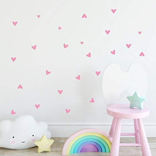 (Oldeagle Wall Sticker, 22PCs Love Heart Vinyl Art Mural Home Room Decals Decor For Kids Room Bedroom Living Room (Pink))