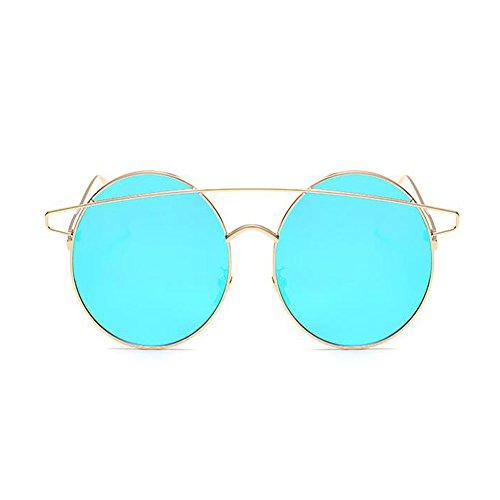Lunettes Faisceau Or Bleu Métal soleil Cadre Cru Des UV400 Deylaying volant lunettes Rond Lunettes Mode Homme de soleil Femme Au de 1vFpHxqw