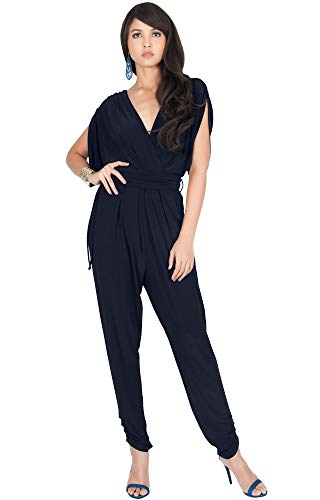 KOH KOH Plus Size Womens Long Pant Pants Suit Suits Sexy V-Neck Short Batwing Sleeve Sleeves Cocktail Party Casual Pantsuit Playsuit Jumpsuit Jumpsuits Romper Rompers, Dark Navy Blue XL 14-16