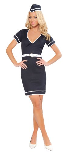 Roma Costume 3 Piece Flight Attendant As Shown, Navy Blue, Small