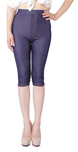 (Capri Jeggings for Women High Waist Crop Jeans Leggings Skinny Pants Blue L)