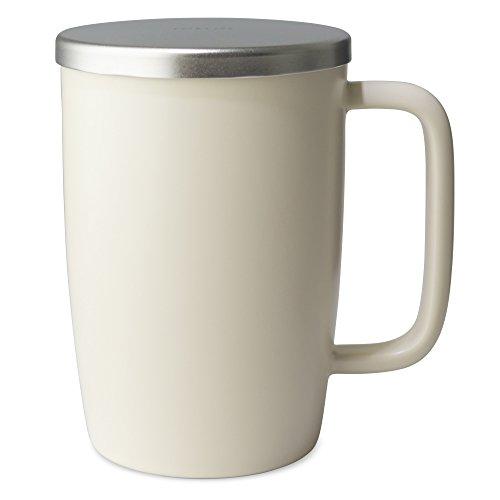 (FORLIFE Dew Satin Finish Brew-In-Mug with Basket Infuser & Stainless Lid 18 oz., Natural)