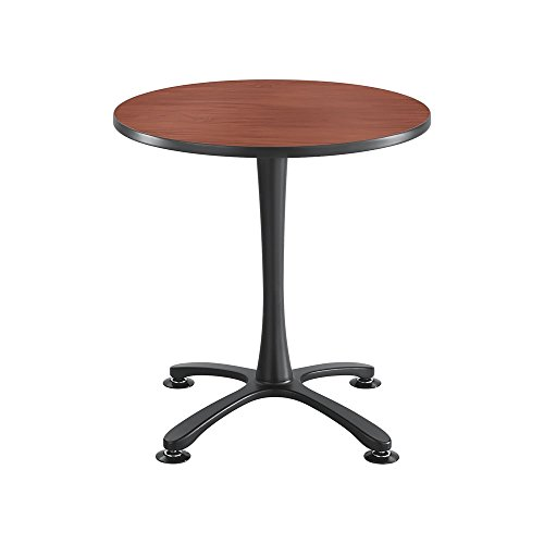 Cha-Cha Tables, Sitting-Height, X Base, 30'' Round Cherry Tabletop & Black Base by Safco