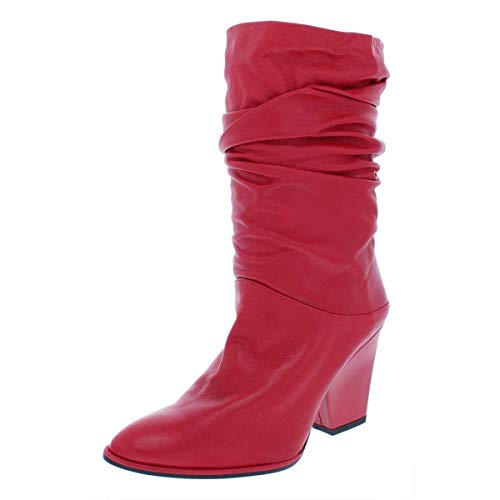 Stuart Weitzman Womens Crush Leather Pointed Toe Mid-Calf, Red Nappa, Size 7.5
