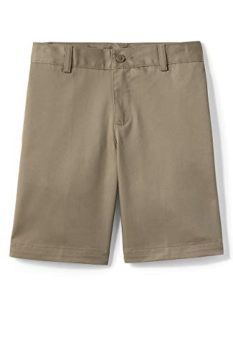Lands' End School Uniform Little Boys Plain Front Blend Chino Shorts Khaki