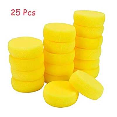 AQUEENLY 25 Pcs Painting Sponge, Artist Sponge for Watercolor, Painting, Crafts, Pottery, Clay, Ceramics, Pottery & Household Use (2.8 Inch)