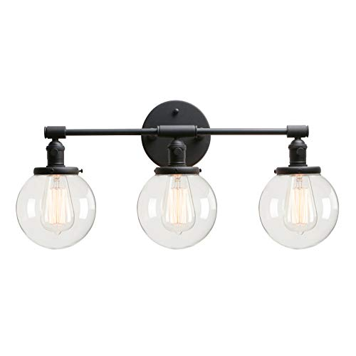 "Permo Vintage Industrial Antique Three-Light Wall Sconces with Mini 5.9"" Round Clear Glass Globe Shade (Black)"
