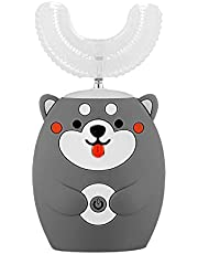 Cute Little Bear Shape Handle U-Shaped Children's Electric Toothbrush Automatic Cleaning Props for Kids,All Rounded Children U Shape Toothbrush Portable Silicone Toothbrush