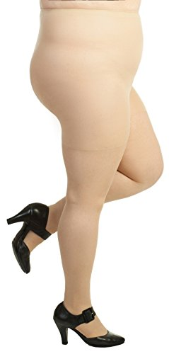 Plus Size Support Pantyhose - Silky Toes Plus Size Comfort Sheer Pantyhose (7X, Nude)