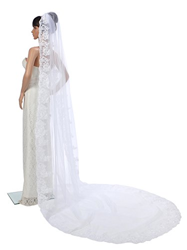 Topwedding 1 Tier Ivory Cathedral Length Tulle Comb Wedding Veil with Appliqued Hem