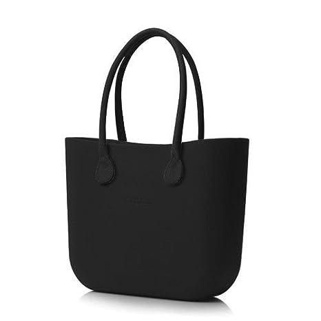Borsa O bag grande nera con manici lunghi in ecopelle neri  Amazon ... ac2296febe9