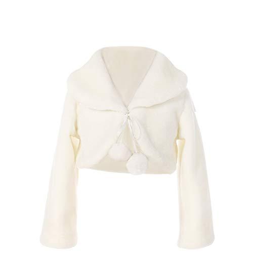 FAYBOX Cozy Faux Fur Flower Girl Bolero Shrug Accessories Princess Cape Coat Party Dress Up Jacket Size L
