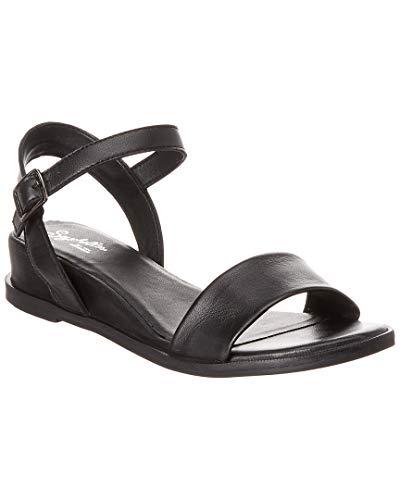 (Seychelles Boardwalk Leather Wedge Sandal, 10, Black)