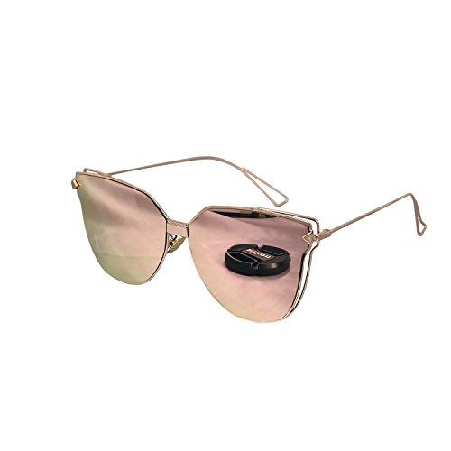 Ucspai Cateye Arrow Sunglasses in Rose Gold Reflective - Gold Reflective Sunglasses Rose