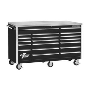 Gloss Box High Storage (Extreme Tools EX7218RCBK 18-Drawer Triple Bank Roller Cabinet In Ball Bearing Slides, 72-Inch, Black High Gloss Powder Coat Finish)