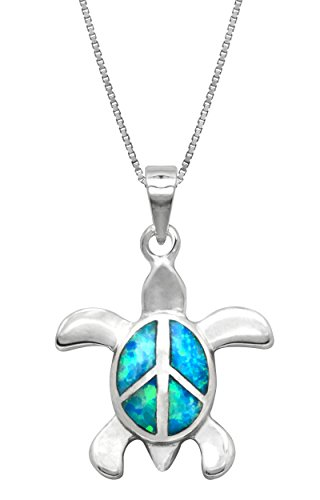 (Sterling Silver Turtle Necklace Pendant Peace Sign with Simulated Blue Opal and 18