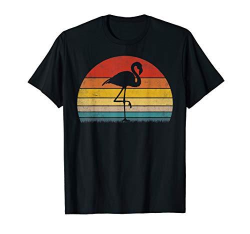 Vintage Sunset Trendy Animal Silhouette Flamingo T-Shirt]()