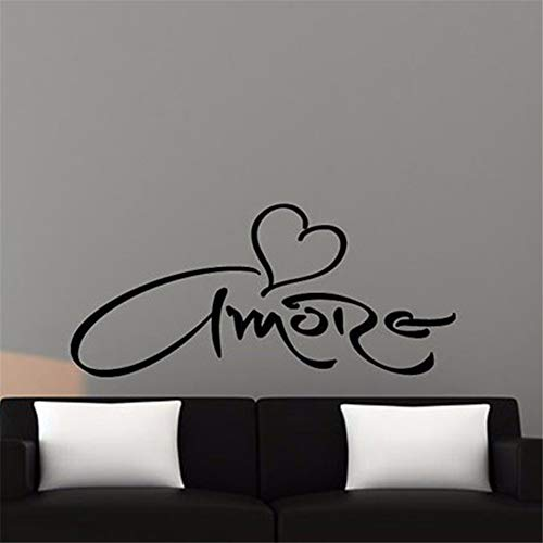 - Guduis Wall Stickers Vinyl Words Sayings Removable Lettering Italian Version Amore Heart Wall Sticker Love for Bedroom Decoration