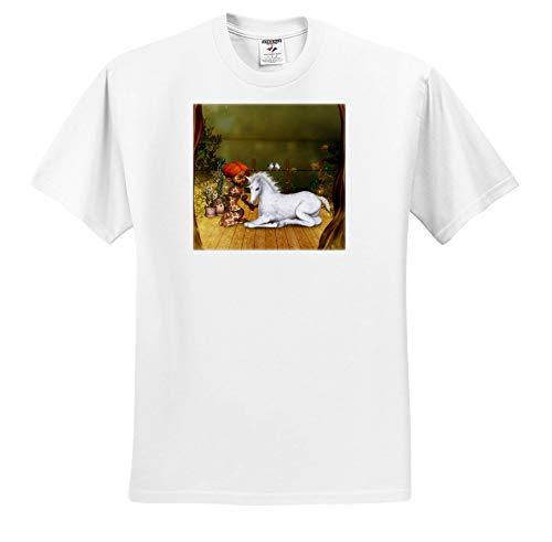 3dRose Heike Köhnen Design Fairies Farytale - Little Fairy with Unicorn foal - Adult T-Shirt 4XL (ts_310268_7) - Foal Adult T-shirt