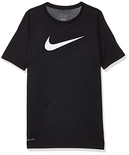 Nike Boy's Dri Fit Swoosh T Shirt Black/White Size Medium 1