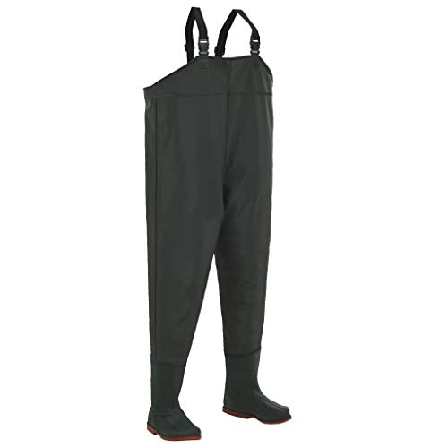 mewmewcat Wading Pants Chest Wader Fishing Pants with Boots and Adjustable Suspenders Green Boot Size 44