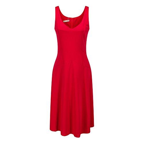 Einfarbe Linie Strandkleid Kleid A Damen Kragen Frauen Cocktailkleid Sommerkleid Oudan Schwingen V Ärmellos Rot Alltagkleid Knielang BTOffnq