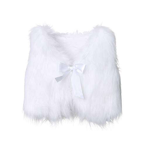 XBRECO Toddler Girl Faux Fur Vest Coat Winter Warm Waistcoat Outerwear (4-5 Years, White)]()