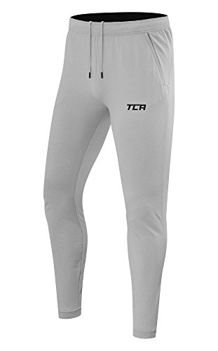 TCA Men's Challenger Tapered Training Track Pant with Zip Pockets and Hems - Gray Marl - L