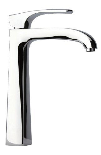 La Toscana 89CR211L Lady Tall Single Post Mount Lavatory Faucet with Pop-Up Drain, Chrome - Satin Nickel Single Post Mount