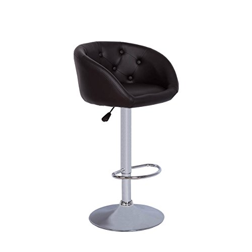 Vogue Furniture Direct Round Back Bucket Seating Black Leather Tufted Stool with Teardrop Footrest VF1581009 (Paris Dining Stool)
