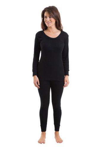 Womens Thermal Underwear Black Set Long Sleeve Vest & Long Pants ...