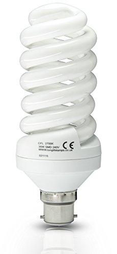 Energy Saving Spiral Compact Fluorescent Light Bulb 35W B22 Bayonet T4 Technology Warm White 175w Equivalent