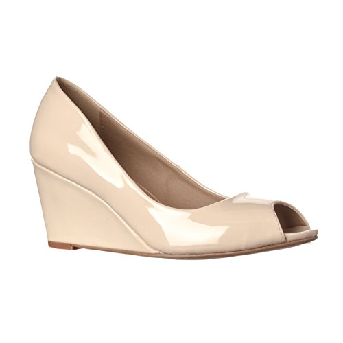 Riverberry Women's Addie Mid-Height Peep Toe Wedge Pumps, Nude Patent, -