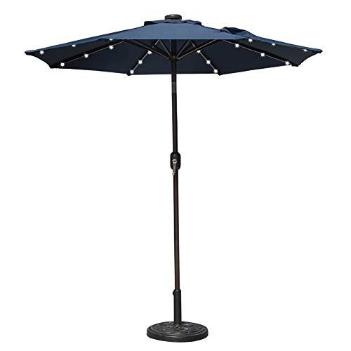 (Sundale Outdoor 10 ft Solar Powered 24 LED Lighted Patio Umbrella Table Market Umbrella with Crank and Push Button Tilt for Garden, Deck, Backyard, Pool, 8 Steel Ribs (Navy Blue))