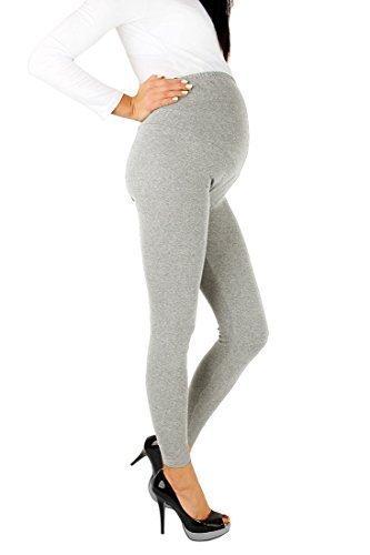FUTURO FASHION Umstandsmode Leggings voller Knöchel sehr warme dicke schwere Baumwolle Leggings sehr bequem alle Größen CIAZA-P28-ASHN-L