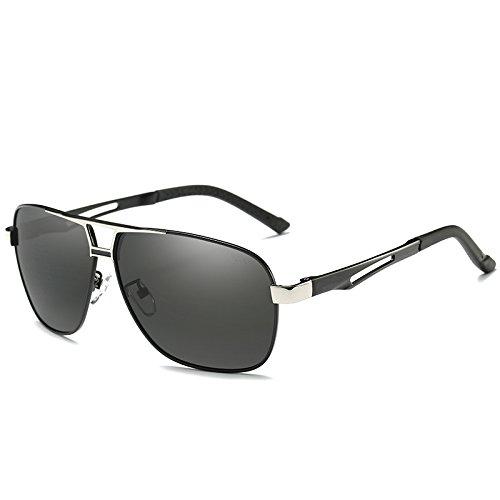UV400 estilo guía polarizadas sol Mens metal Rectángulo gafas gafas Grey piloto clásico polarizadas sol de gris gafas de TIANLIANG04 HD gafas de masculino nTwq877W