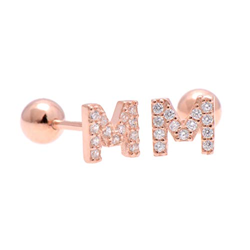 - Paialco Sterling Silver Initial Letter M Earrings Screw Back, Rose Gold Plated