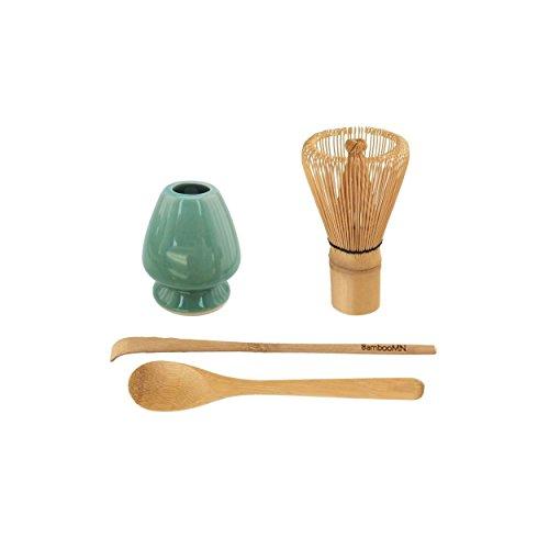 BambooMN Brand - Matcha Green Tea Whisk Set - Whisk + Scoop + Tea Spoon + Green Whisk Holder