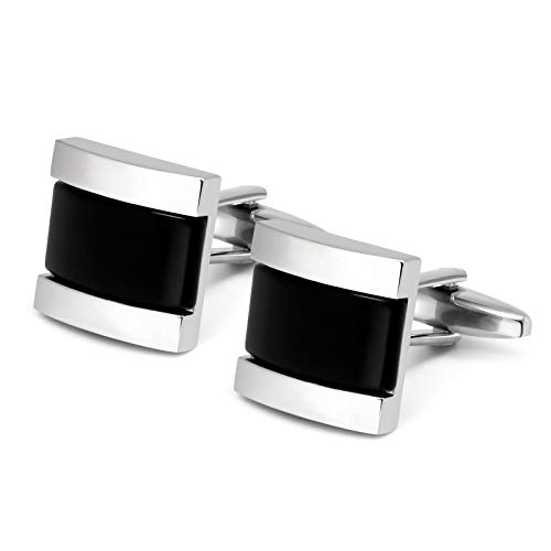 (VIILOCK Square Cat Eye Cufflinks for Men Opal Sliver Tone Cuff Links Business Wedding Gift (Black))
