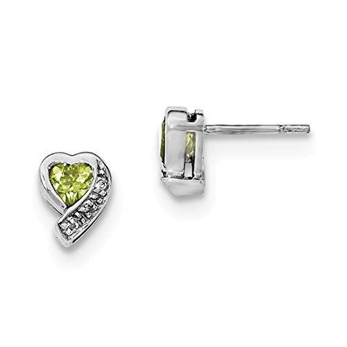 ICE CARATS 925 Sterling Silver Green Peridot Diamond Heart Post Stud Earrings Love Fine Jewelry Gift Set For Women Heart