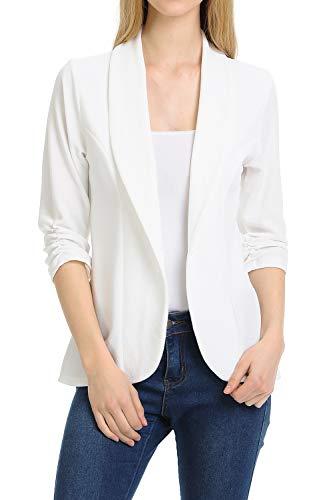 (MINEFREE Women's 3/4 Ruched Sleeve Lightweight Work Office Blazer Jacket OFFWHITE)